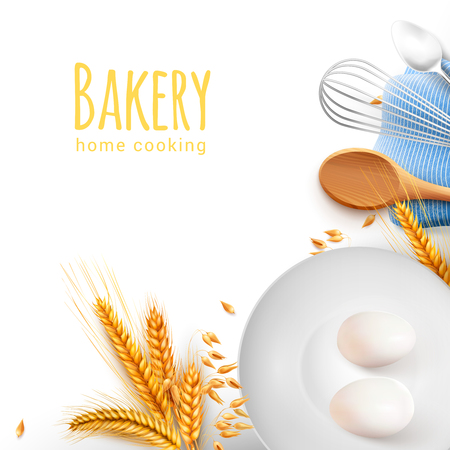 Home cooking tools kitchen baking utensils realistic composition with wooden spoon whisk teaspoon grain eggs vector illustration