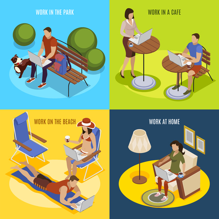 Freelancer usual day 4 isometric icons square with work at home in park on beach vector illustration