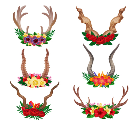 Wild animals dear mountain goat moose ornamental floral horns set decorated with flower arrangements isolated vector illustration Illustration