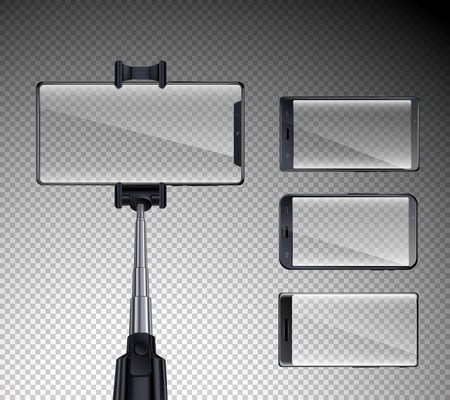 Four all screen front glossy touchscreen smartphones set with selfie stick realistic transparent background isolated vector illustration Illustration