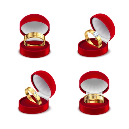 Wedding engagement gold rings in opened red jewelry box case 4 realistic sets white background vector illustration