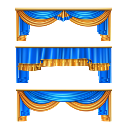 Full volume golden blue luxury draping curtains set 3 realistic home window decorations ideas isolated vector illustration
