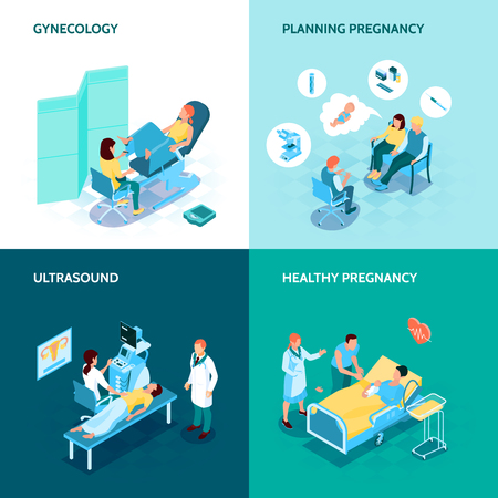 Gynecology and pregnancy concept icons set with planning pregnancy symbols isometric isolated  vector illustration