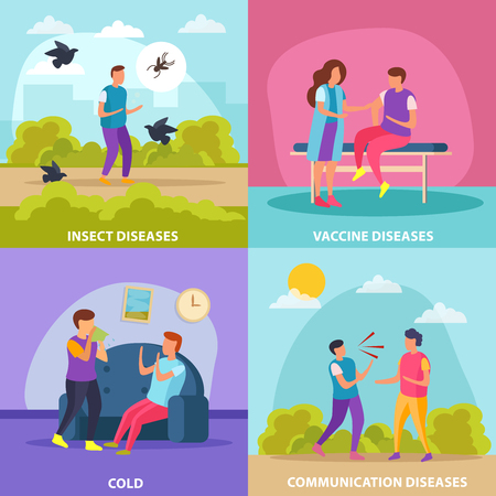 Diseases transmission ways 2x2 design concept set of cold insect vaccine and communication diseases flat vector illustration 일러스트