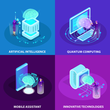 Artificial intelligence 2x2 design concept set of innovative technologies quantum computing mobile assistant isometric glow icons vector illustration