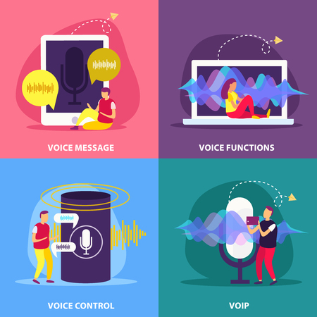 Voice functions 2x2 design concept set of recognition communication message control in smart home flat vector illustration
