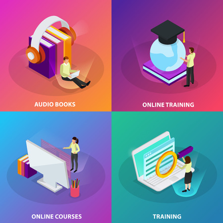 Online learning 2x2 design concept set of online courses online training audio books  square glow icons isometric vector illustration