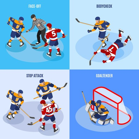 Hockey concept 4 isometric compositions with defense players stopping forward attack face off and goaltender vector illustration Stok Fotoğraf - 119642118
