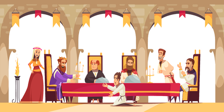 Castle cartoon poster with king sitting on throne surrounded by his entourage and citizen asking on knees vector illustration