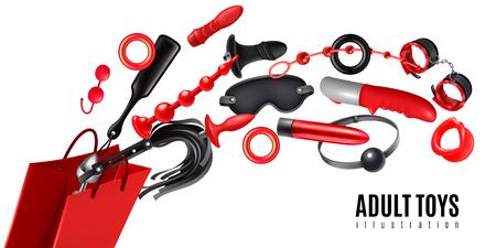 Concetto di design di giocattoli per adulti come pubblicità per l'illustrazione realistica di vettore di produzione del negozio Vettoriali