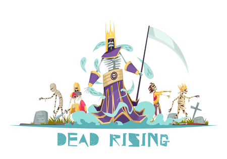 Dead rising spooky design concept with ghosts walking around cemetery between graves with crosses vector illustration