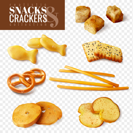 Crackers and snacks of different shapes on transparent background isolated icons set realistic vector illustration
