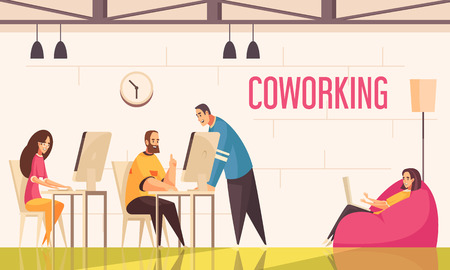 Coworking people design concept with group of positively tuned creative persons working in office flat vector illustration