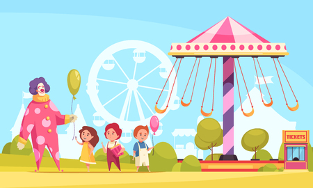 Amusement park cartoon background with clown handing out air balloons to children near carousel vector illustration