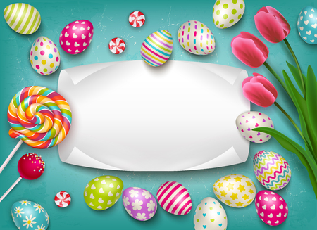Composición de Pascua con imágenes de dulces y flores de piruletas de huevos festivos de colores con ilustración de vector de marco de texto vacío