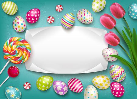 Wielkanocna kompozycja z obrazami kolorowych świątecznych jajek z lizakowymi słodyczami i kwiatami z pustą ilustracją wektorową ramki tekstowej