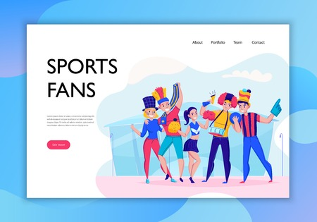 Fans cheering team concept banner with sports fan headline and see more button vector illustration