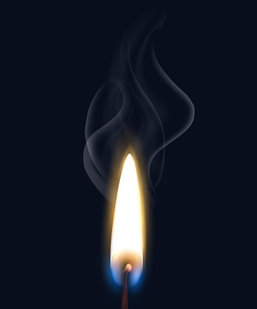 Colored isolated realistic burning flame smoke composition with realistic match flame on black background vector illustration Archivio Fotografico - 124236110