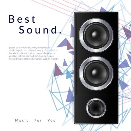 Realistische Audiosystemkomposition mit bester Tonüberschrift und großer schwarzer Lautsprechervektorillustration Vektorgrafik