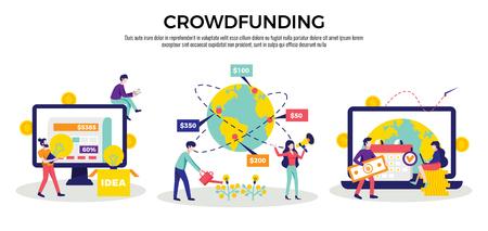 Crowdfunding money raising international internet platforms for business startup  charity ideas 3 flat horizontal compositions vector illustration