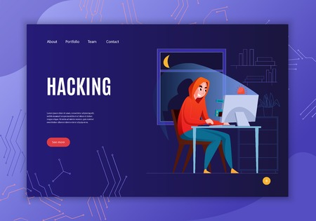 Horizontal hacker concept banner with hacking headline see more button and four link vector illustration