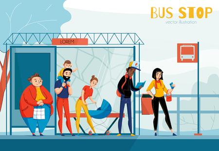 Wachtrij mensen busstation samenstelling met verschillende status en leeftijd mensen vector illustratie