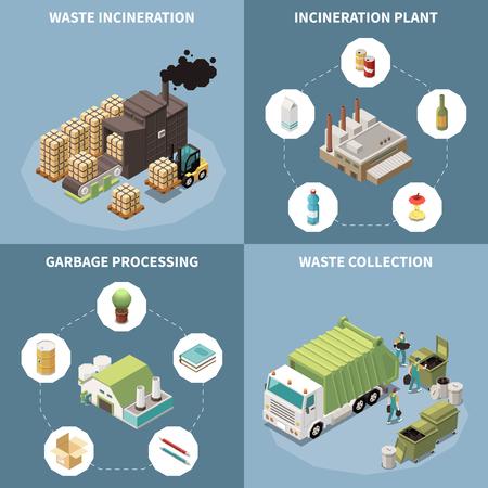 Isometrisches Symbol für Müllrecycling mit Müllverbrennungs- und Müllsammlungsbeschreibungen Vektorillustration