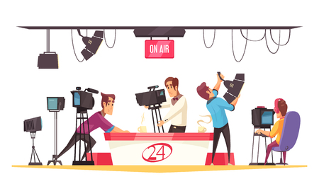 Social media cartoon composition with journalist in front of monitor and cameramen with video camera flat vector illustration