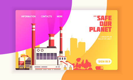 Urban landing page for environmental defense websites with power plant and caption safe our planet vector illustration