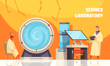 Experimenting scientists in laboratory near large centrifuge with liquid for chemistry or  biotechnology equipments flat vector illustration Illustration