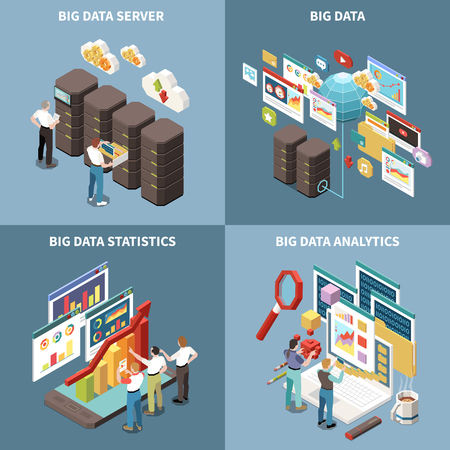 Big data analytics isometric icon set with server statistics and analytics descriptions vector illustration