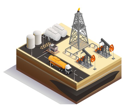 Oil petroleum extraction transportation production industry isometric composition  with pump jacks drilling rigs derrick tanks vector illustration