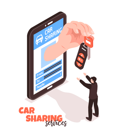 Car sharing service isometric concept with man taking keys 3d vector illustration