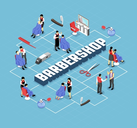 Barber shop stylists and customers professional accessories and interior elements isometric flowchart on blue background vector illustration