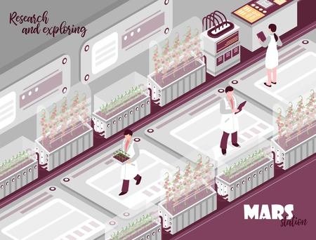 Isometric mars colonization laboratory composition with indoor view of laboratory with scientists test tubes and text vector illustration