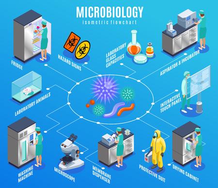 Organigramme isométrique de microbiologie avec réfrigérateur animaux de laboratoire machine à laver microscope distributeur de membrane costume de protection et autres descriptions illustration vectorielle