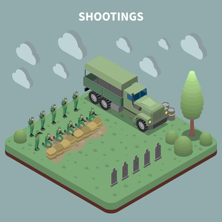 People in army isometric background with troop of soldiers arrived on military truck for target shooting training vector illustration Illustration