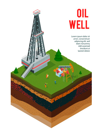 Isometrischer Hintergrund der Ölindustrie mit bearbeitbarem Text und Ansicht von Bodenschichten mit Ölderrickkonstruktionen Vektorillustration