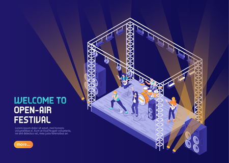 Open air music festival color background with musicians performing  on stage in spotlight isometric vector illustration