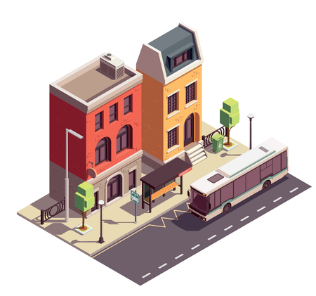 Townhouse buildings isometric composition with outdoor landmark bus stop and two dwelling houses on city street vector illustration