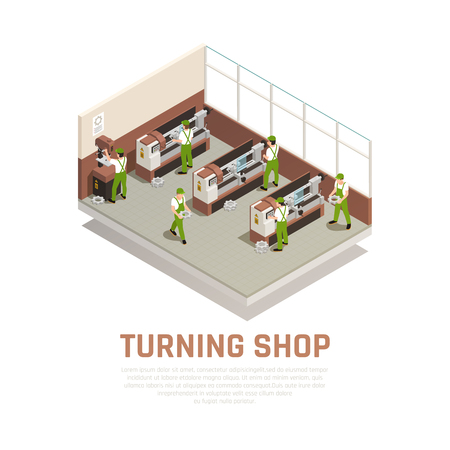 Industrial machinery concept with turning shop symbols isometric vector illustration