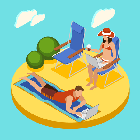 Freelancers day round isometric composition with couple working on laptops relaxing on beach in swimwear vector illustration