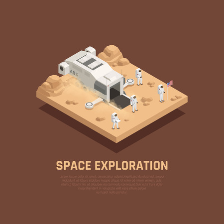 Space exploration composition with outer space and astronauts symbols isometric vector illustration Ilustrace