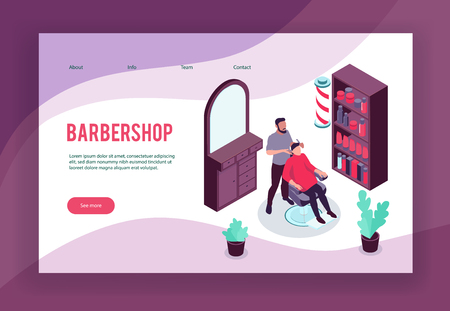 Isometric concept banner with hair stylist his client and barbershop interior 3d vector illustration