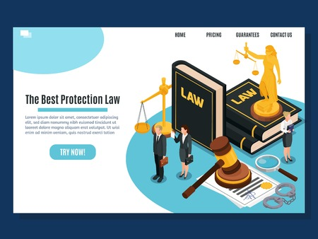 Law protection judicial and justice court systems public services home page isometric composition website design vector illustration