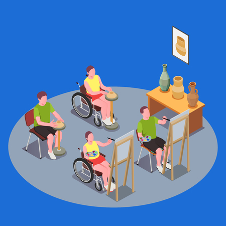 Inclusive education composition with people in wheelchairs having art lesson 3d vector illustration
