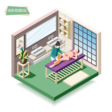 Hair removal isometric composition with woman doing sugaring in beauty salon 3d vector illustration