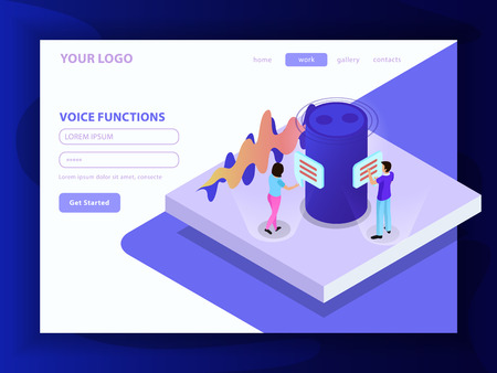 Voice functions composition in landing page format with smart speaker and people communicating by voice messages  isometric vector illustration Illustration