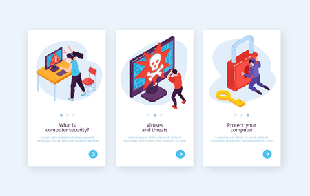 Set of three vertical isometric hacker banners with conceptual images of people hacking systems with text vector illustration Illustration
