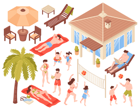 Isometric beach house tropic holidays people set with isolated human characters house and tropical plants images vector illustration
